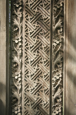 Detail Of Old Decorative Wooden Panel In Bali Indonesia Stock ...