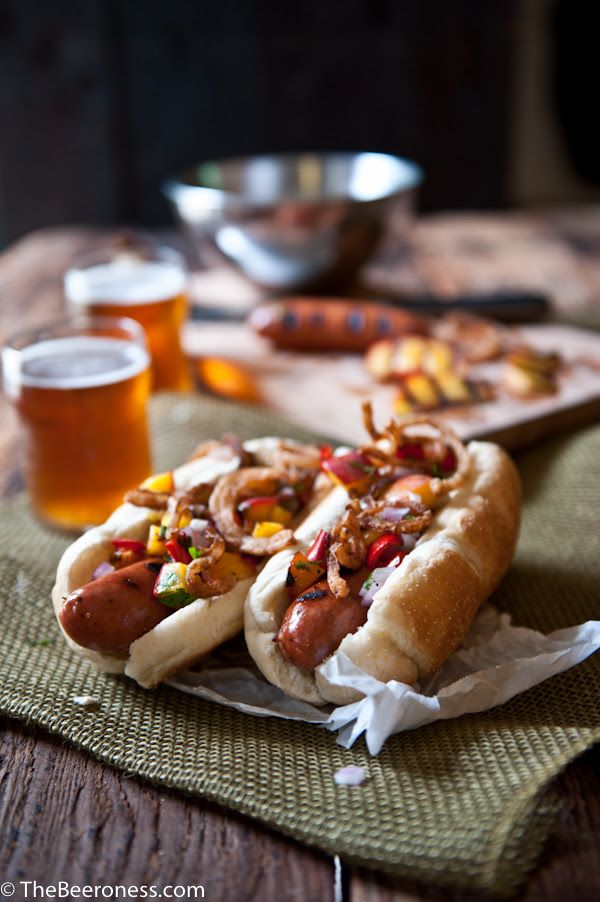 Beer-Brat-Dogs-Grilled-Peach-Salsa-Fried-Onions-thebeeroness.com