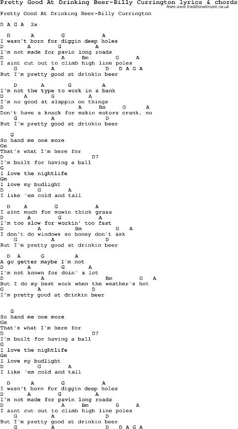 Pretty Good At Drinkin Beer Lyrics