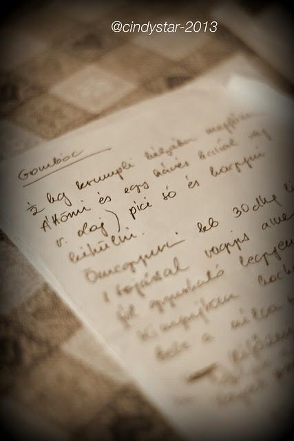 hand-written hungarian recipe
