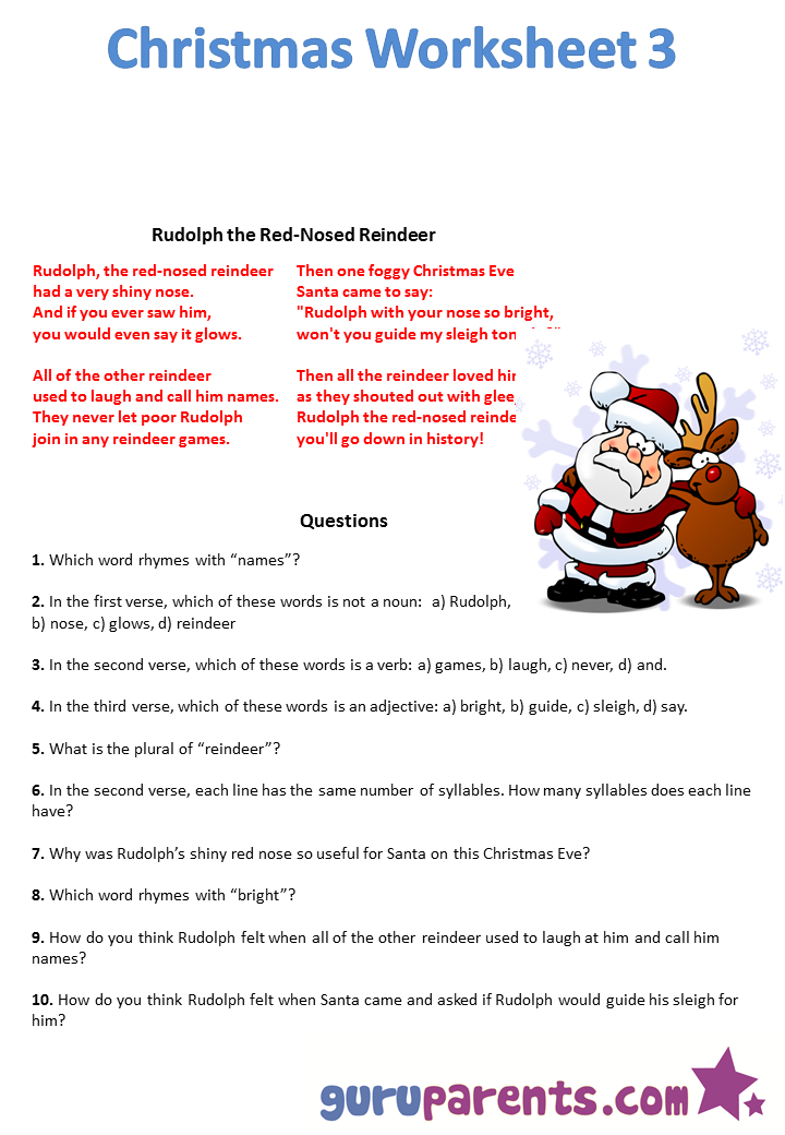 Christmas Worksheets Guruparents