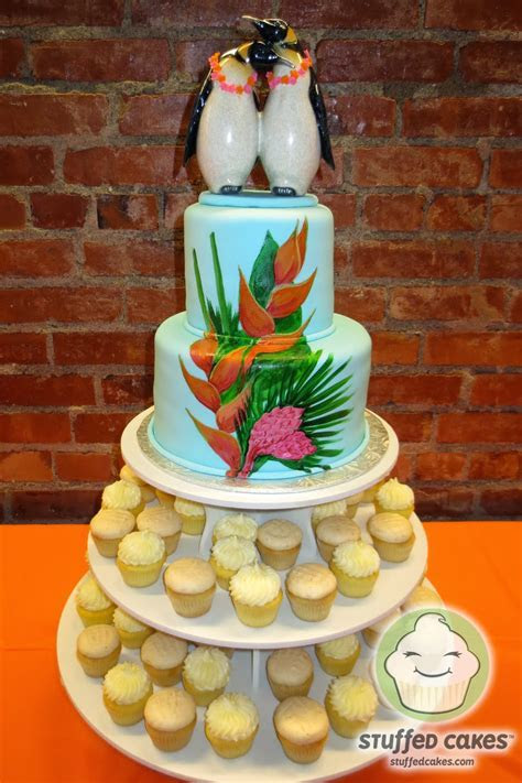Stuffed Cakes: Hawaiian Penguins   Wedding Cake