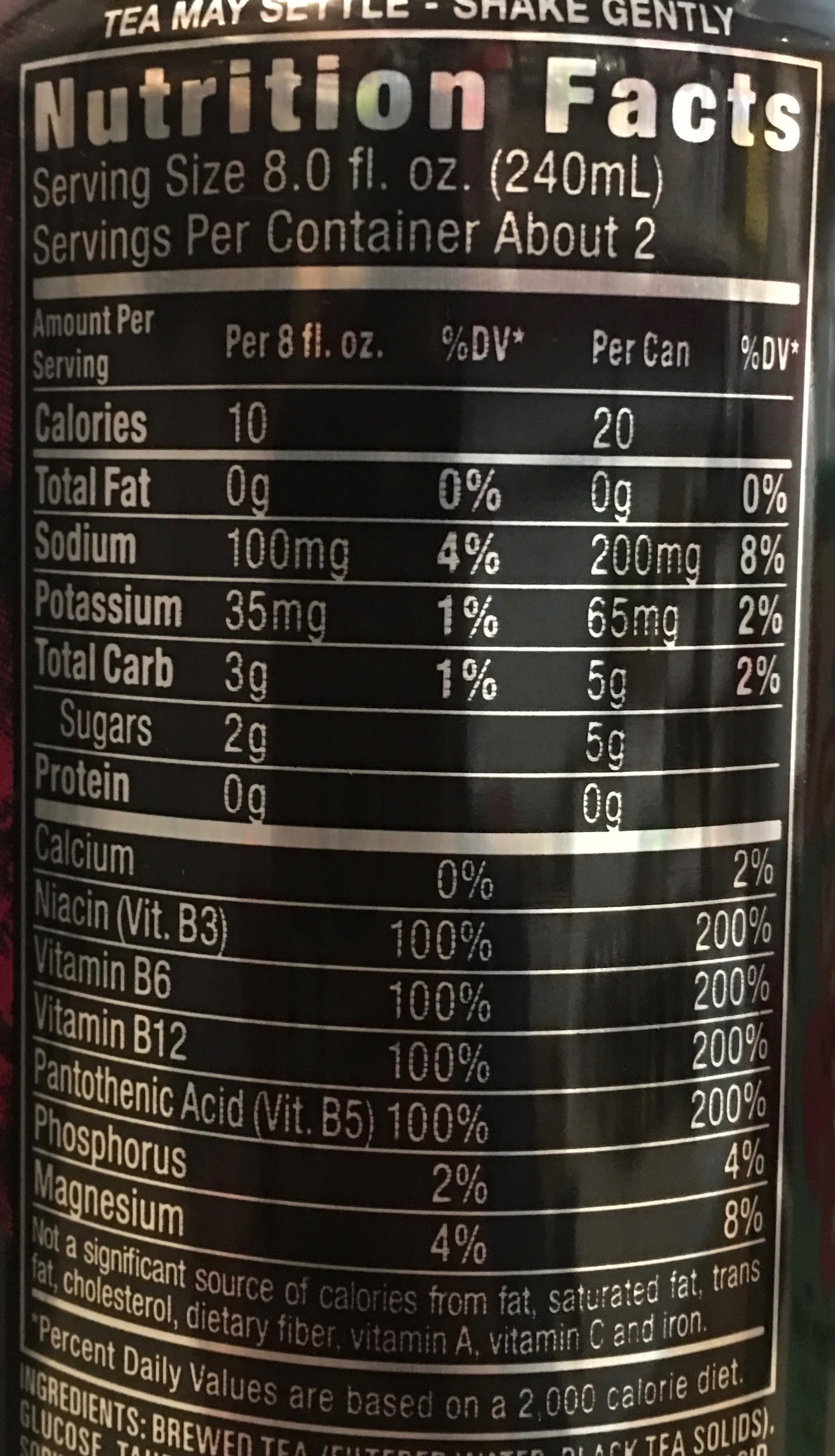 It's just a graphic of Vibrant Reign Drink Nutrition Label