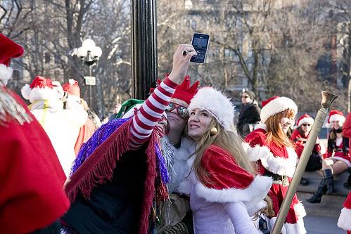 Santas in Washington Sq Park