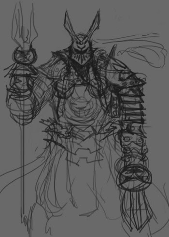 warrior scribble design