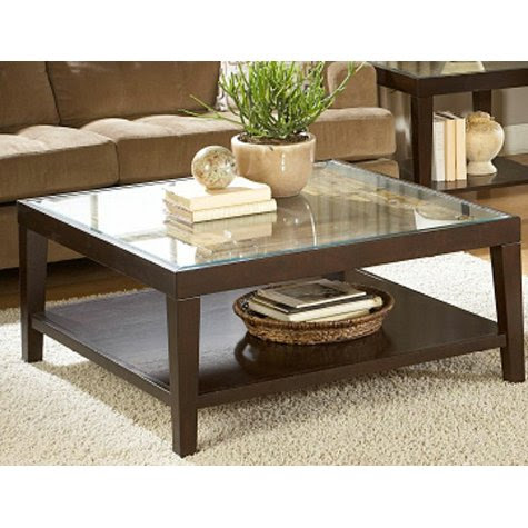 Square Glass Top Coffee Table Wood Kitchen Design