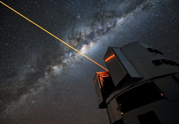 A 22W laser used for adaptive optics on the Very Large Telescope in Chile. A suite of similar lasers could be used to alter the shape of a planet's transit for the purpose of broadcasting or cloaking the planet. Credit: ESO / G. Hüdepohl