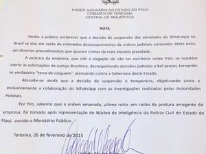 Juiz informou que WhatsApp descumpriu decisões judiciais repetidamente (Foto: Gilcilene Araújo/G1)