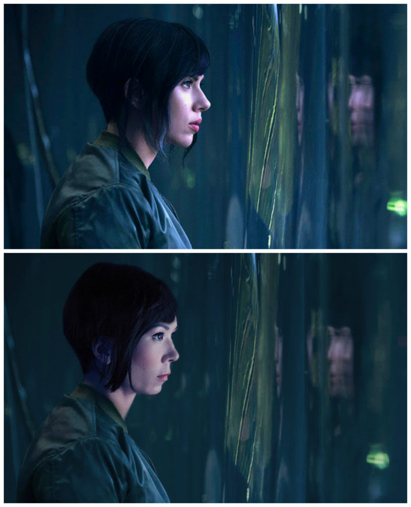 scarlett johansson, michelle villemaire, ghost in the shell, yellow face, hollywood, actor, actress, diversity,