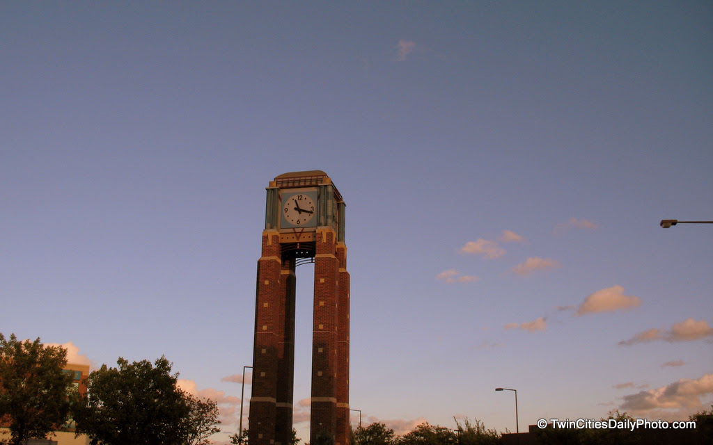 On the corner of 98th Street and Lyndale Avenue in Bloomington. I've been to this location a few times in the past, but always during the daytime. I believe this was the first time I've seen the clock tower as the sun was setting.