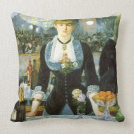 A Bar at the Folies-Bergere by Edouard Manet throwpillow