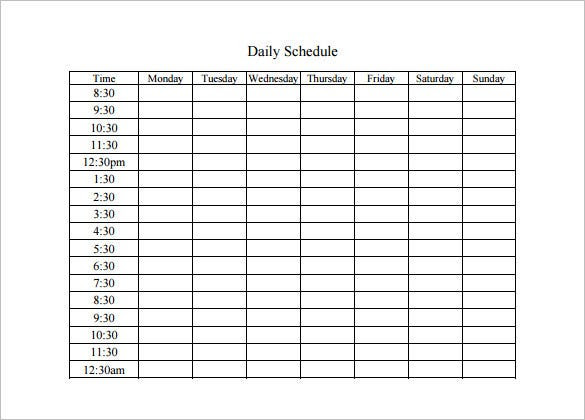 Daily Schedule Template – 7+ Free Sample Example Format Download ...