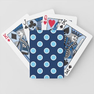 Light Blue Polka Dots on Dark Blue Playing Cards