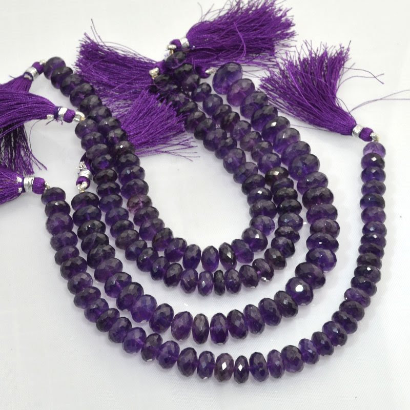 s44061 Stone Beads -  Faceted Donut Rondelles - Amethyst (strand)