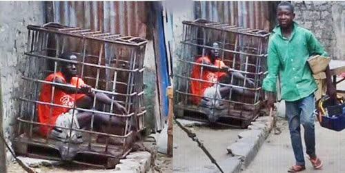 Checkout the 'Cage Treatment' Meted Out to Criminals in Warri, Delta State (Photos)