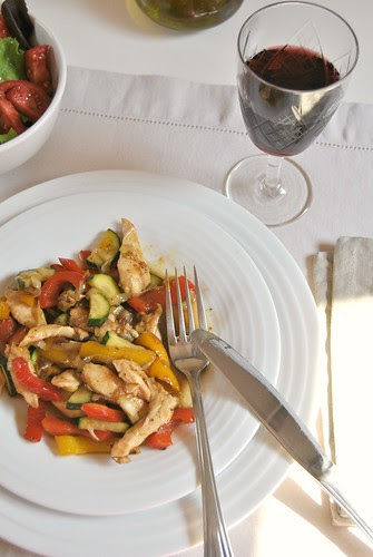 Chicken Stirfry with Vegetables and Rosemary