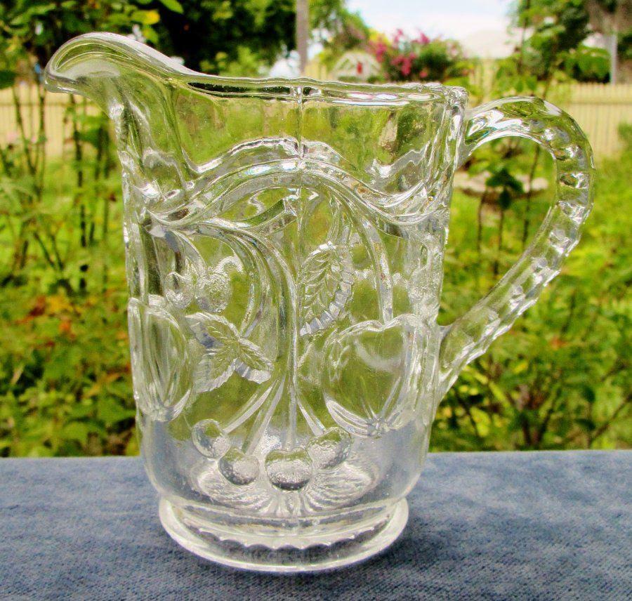 PRETTY VINTAGE CLEAR DEPRESSION GLASS FRUIT PATTERN JUG   eBay