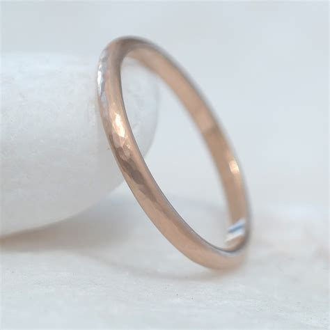 2mm Hammered Wedding Ring in 18ct Rose Gold ? Lilia Nash