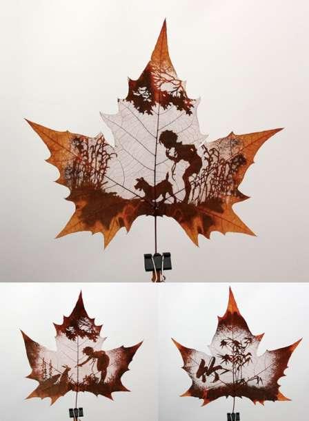 Yaprak üzerine şekiller