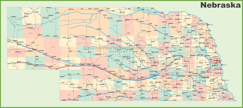 Road Map Of Nebraska With Cities