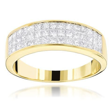 14K Gold Princess Cut Diamond Wedding Band Invisible Set