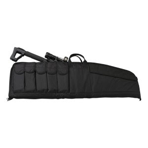 Black tactical rifle case with five mag pouches on the outside