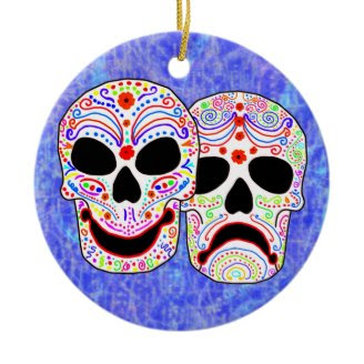 Halloween DOTD Comedy-Tragedy Skulls Christmas Tree Ornaments