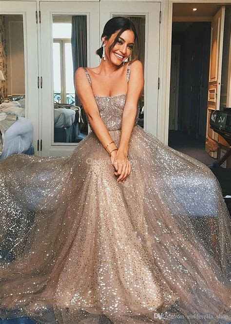 Rose Gold Sparkly Prom Dresses 2019 Spaghetti A Line