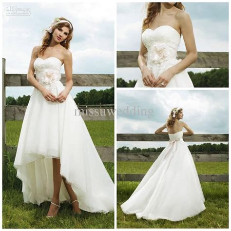 Best selling Strapless short front long back Organza Lace