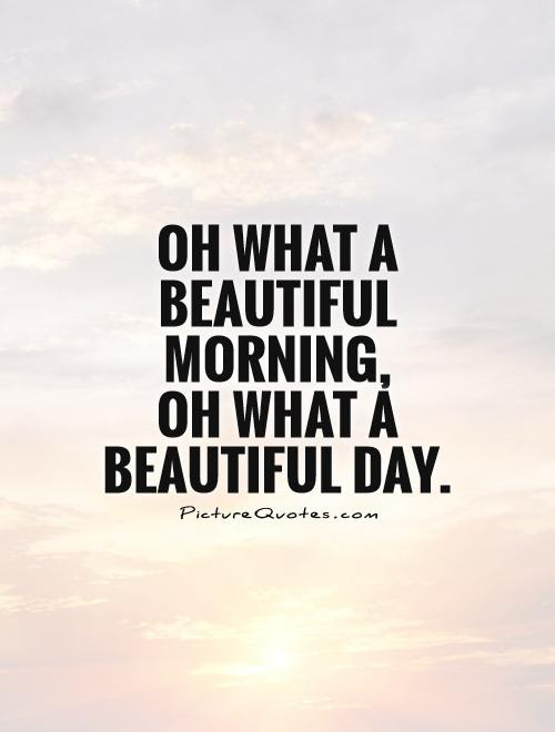 Oh What A Beautiful Morning Oh What A Beautiful Day Picture Quotes