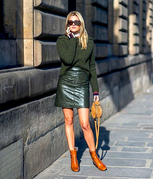 Le Fashion Blog Green Pullover Sweater Striped Turtleneck Green Leather Skirt Camel Patent Leather Boots Via @ Camille Charriere