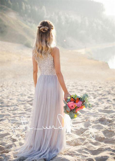 2018 Newest Beach Bridesmaid Dresses Jewel Sequins Tulle
