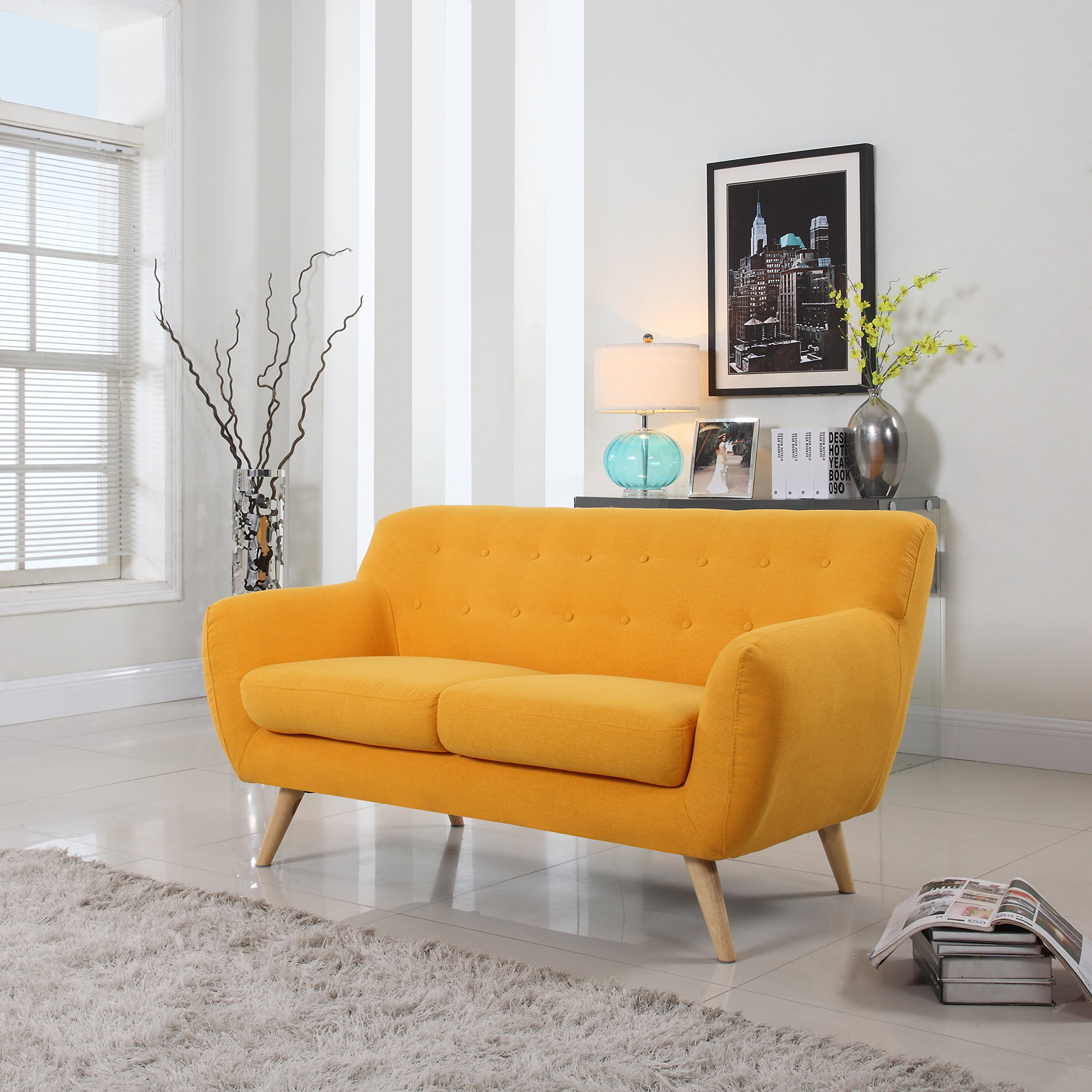 Mid Century Modern Style Sofa / Love Seat Red, Grey ...