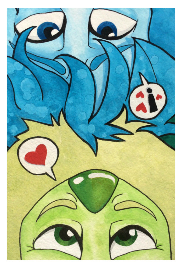 Here's a silly Lapidot painting, viewed from each end…They're laying in the grass, or something.   Gouache + black marker, 6″ x 9″.
