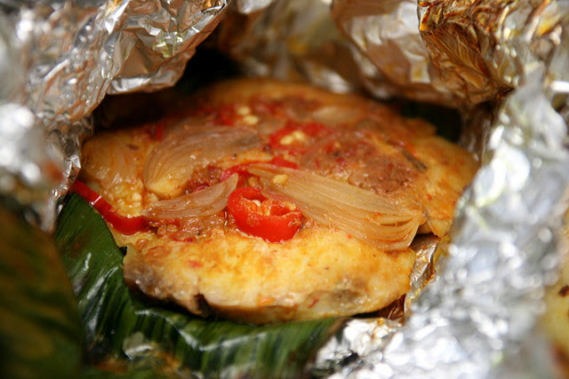 Sambal belachan fish fillet in banana leaf