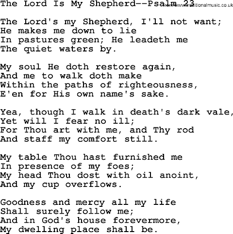 The Lord Is My Shepherd Lyrics Psalm 23