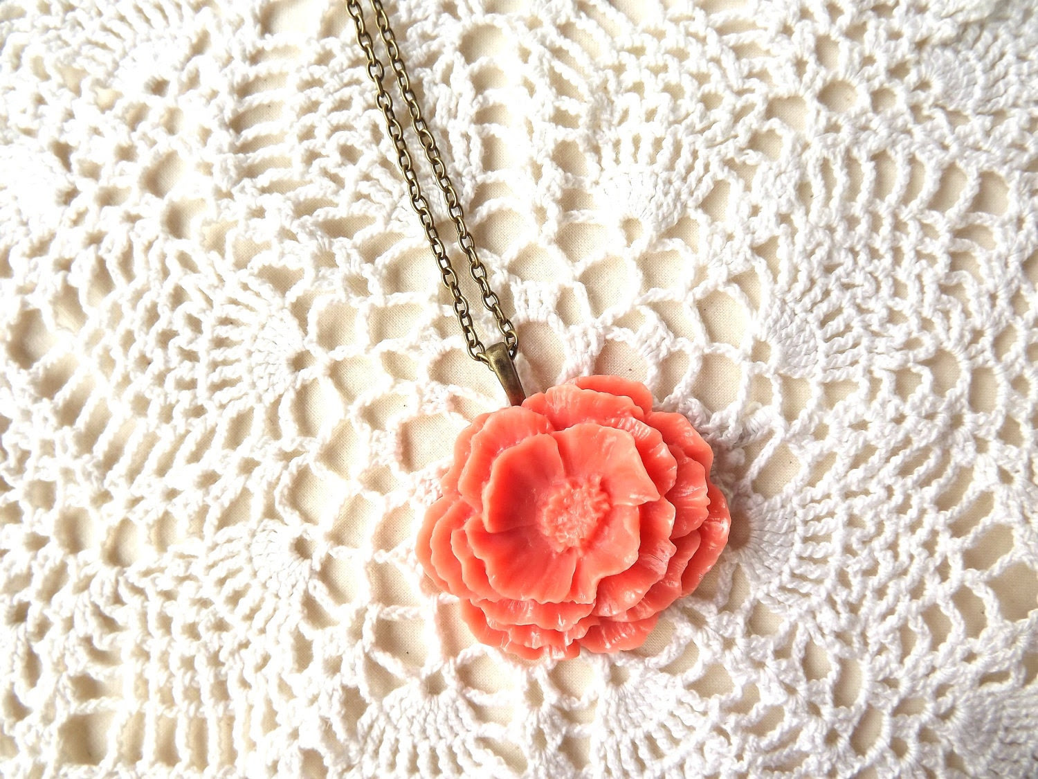 Blooming Pink Tangerine Peony Necklace