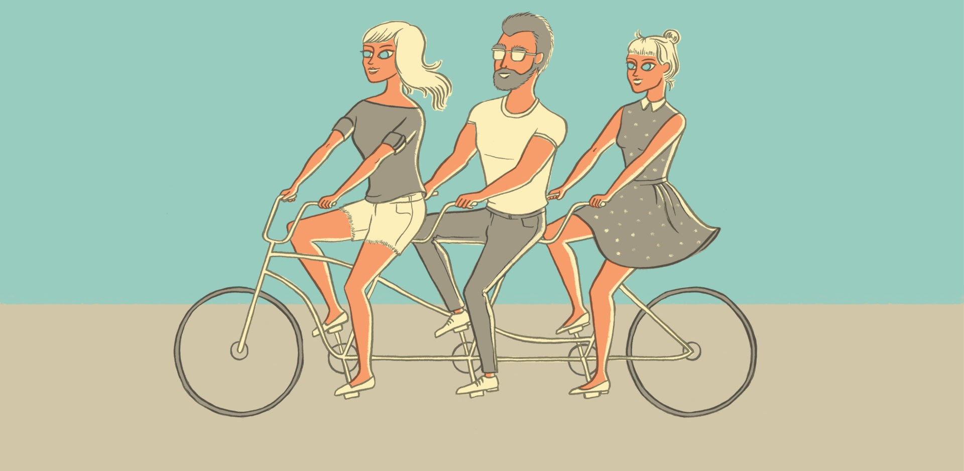Graphic: poly triad on bicycle built for 3