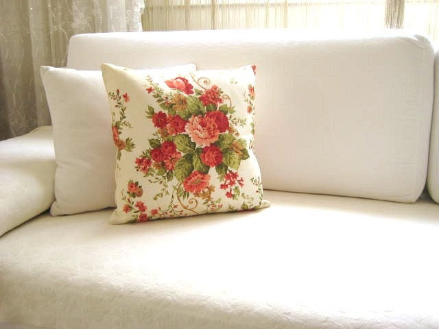 """Shabby Chic Home - Linen Cream Pillow Covers with Green n Orange Flowers Bouquet Print - 16x16"""" - Gift for Her, for Mom - Ready for Shipping - MyDreamHome"""