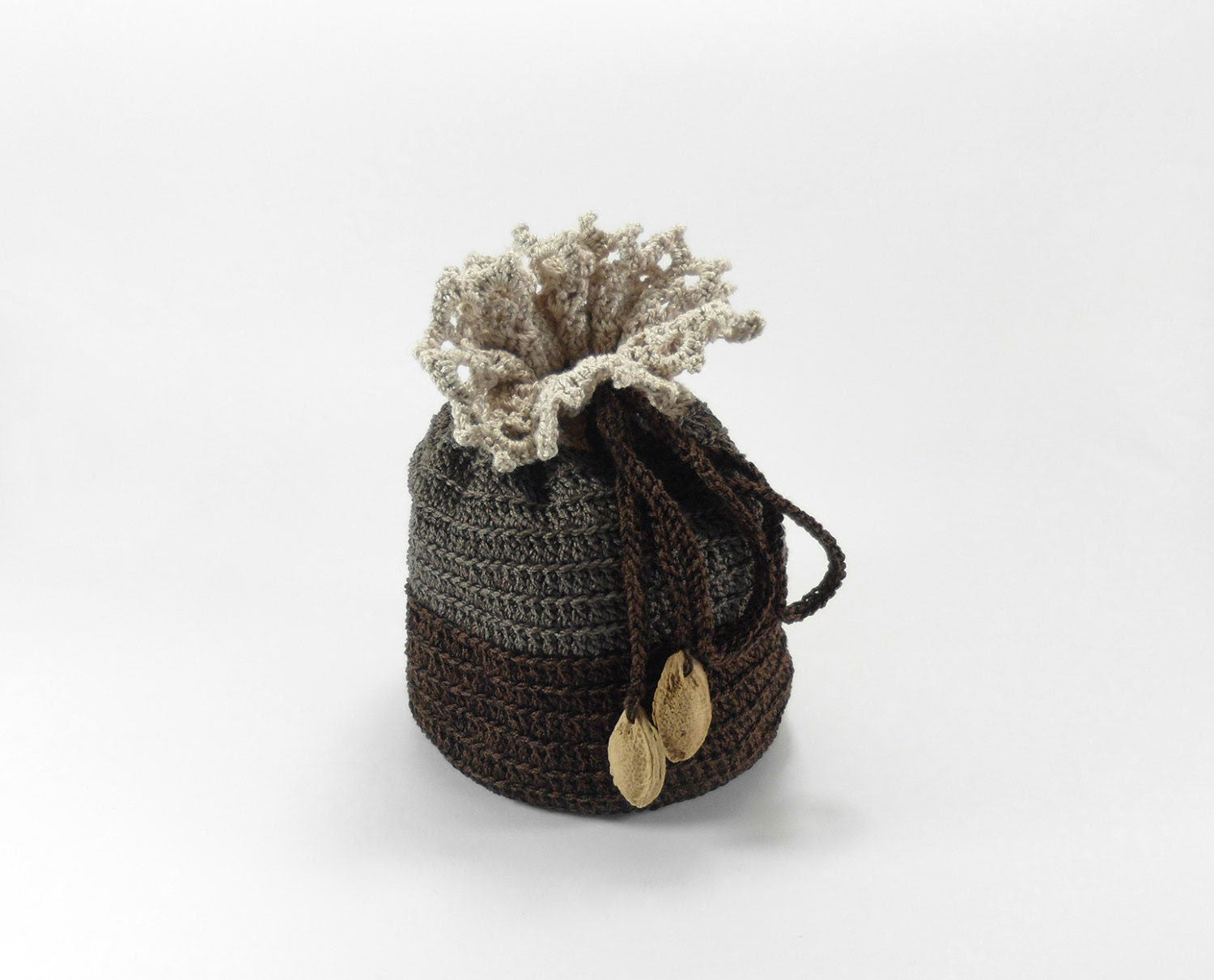 Jewelry Bag with Drawstring, Crochet Pouch,  Brown Gray Gift Bag - Smalkumi