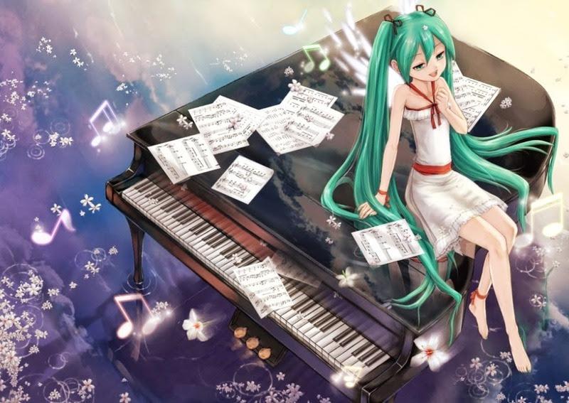 chica pelo verde sobre piano