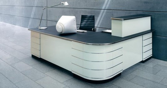 Retro Modern Executive Office Desk And Counter Design For Elegant