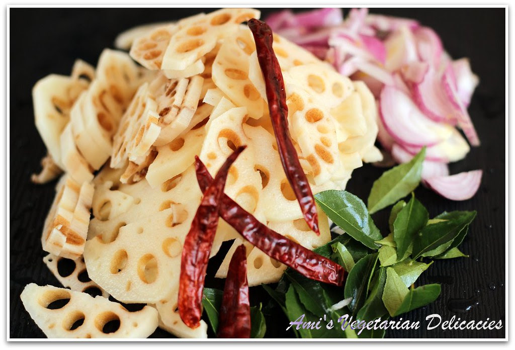 Sliced Lotus Root and other ingredients for stir-fry