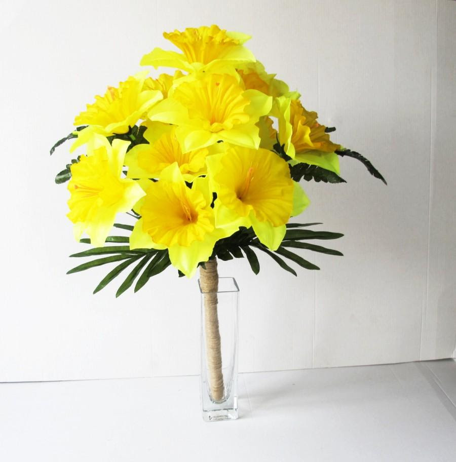 Yellow Silk Daffodils Flowers Bouquet Narcissus Green Bouquets Wedding Bouquets Artificial Flowers Country Rustic Spring Flowers Jute 2534122 Weddbook