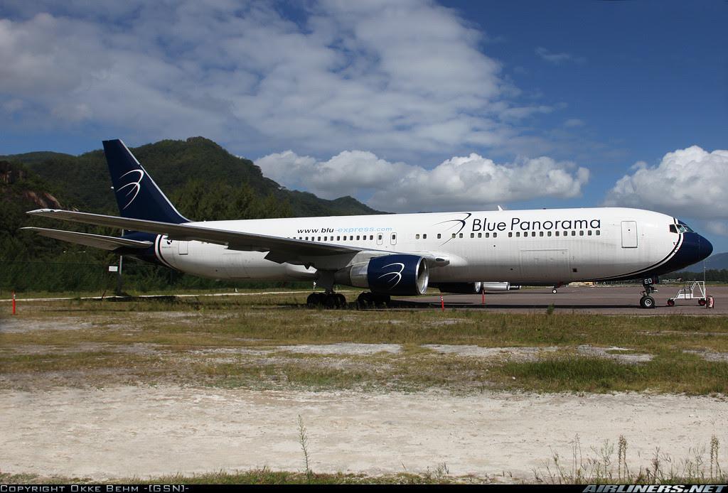 Blue Panorama Boeing 767 in Mahè, Seychelles