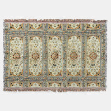 Oriental rug in light colors throw blanket