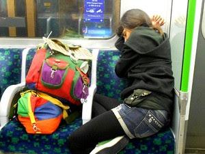 Dormindo no metrô (Foto: Aline Campbell/Arquivo pessoal)
