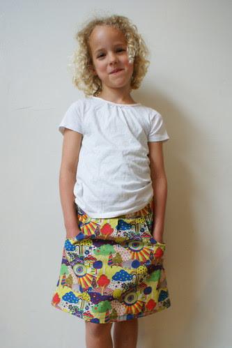 Voorkant A-lijn rok met zakken
