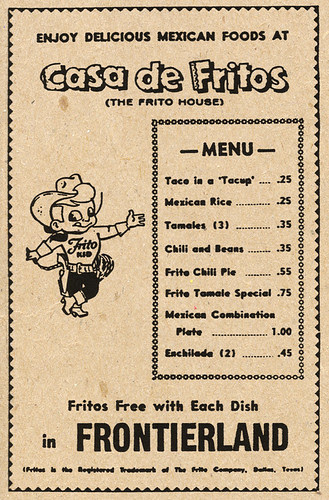 Disneyland Casa De Fritos Menu Ad, 1955