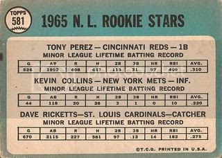 #581 NL Rookie Stars: Tony Perez, Kevin Collins, and Dave Ricketts (back)